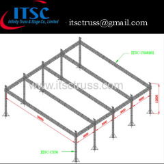 Heavy duty giant flat roof system 36x36x12m
