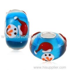 Handmade Christmas Snowman Glass Beads in 925 Silver Core Wholesale