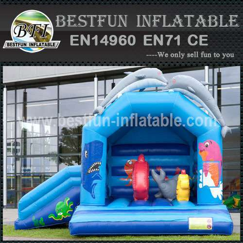 Dolphin inflatable bouncy slide
