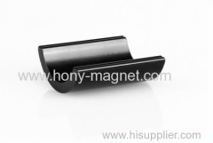 Black epoxy coating bonded neodymium hlaf ring magnet