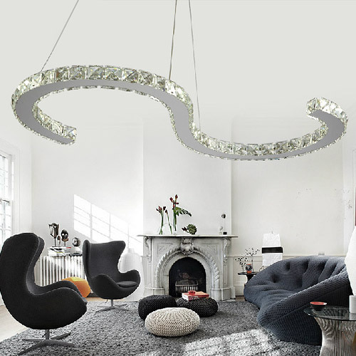 Restaurant curve of S LED crystal ceiling lamps for sale