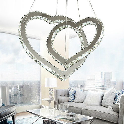 Double Heart Crystal stainless steel decorative ceiling lamps