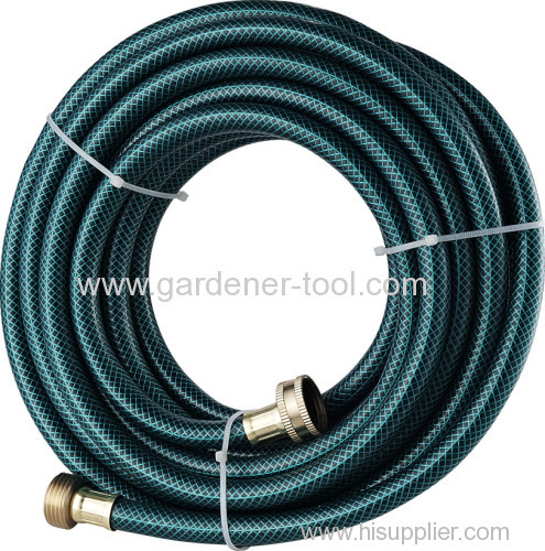 Reinforced garden hose pipe with brass connector