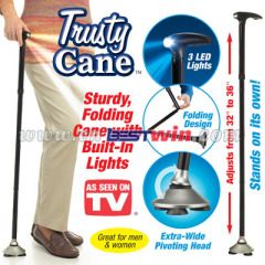 Foldable trusty cane with led light