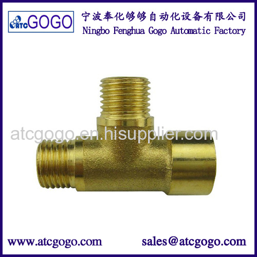3 way brass water connector male to female tube hardware fitting NPT BSP thread for gas oil