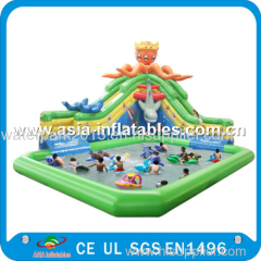 Giant Inflatable Water park with White Shark Water Slide and float toys