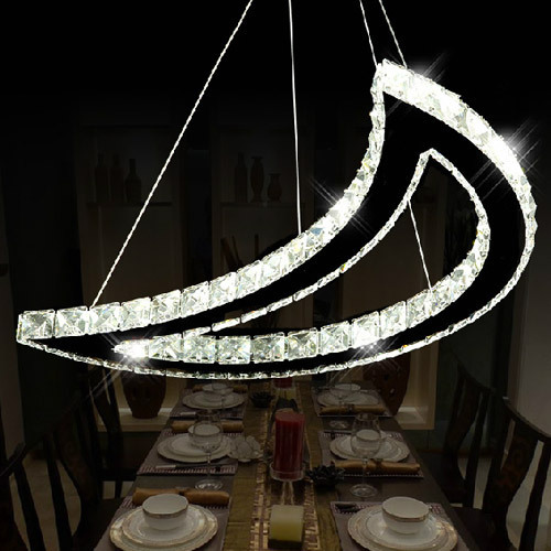 Stainless Steel Moon LED crystal pendant lighting for sale