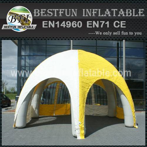 Inflatable tent with roof