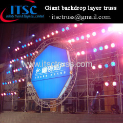 Ringlock Scaffolding System as Backdrop for Stage Lighting and Polygon LED Screen