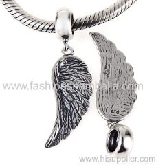 Authentic 925 Sterling Silver European Sterling Silver Dangle Wing Charm