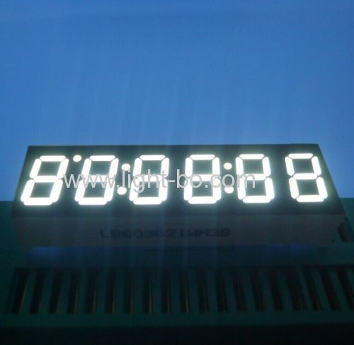 Ultra white 0.36 inch 6-digit 7 segment led clock display for instrument panel