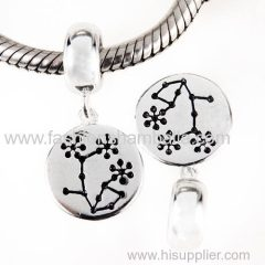 Hot Selling European Sterling Silver Dangle Plum Blossom Charm