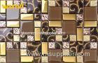 Glitter KTV Golden Glass Mosaic Wall Tile , Glass Mosaic Backsplash Tiles
