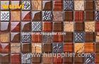 Contruction Material Brown Glass Ceramic Mosaic Tiles With Electroplate Flower