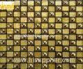 Public Hall Decor Glitter Gold Mosaic Tiles , Mosaic Glass Wall Tiles