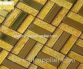 Non Fade Color Mix Strip Gold Mosaic Tiles , Home Decorative Metal Tiles