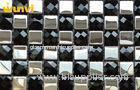 White And Black Stainless Steel Mixed Mosaic Beveled Glass Subway Tile