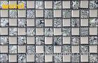Light Grey Bathroom Mosaic Tiles With Square Glass Chip Mix Random Flower