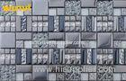 OEM Dark Grey Glass And Metal Mosaic Tile , Mosaic Floor Tiles For Bathroom