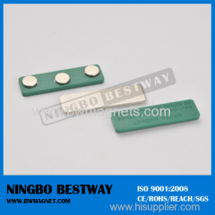 Permanent magnetic name badge fasteners
