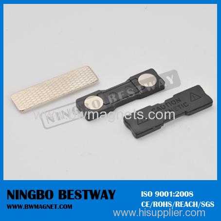 Permanent magnetic name badge fasteners