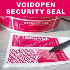 Custom red void open security seal vinyl stickers white color silk screen printed with white serials unique numbers