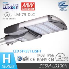 UL/DLC listed 100-240V/277V input and Ra75 100W LED street lamp