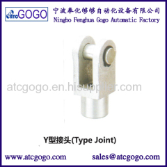 Y type I type joint aluminum contact bore head of pneumatic cylinder tapered tube