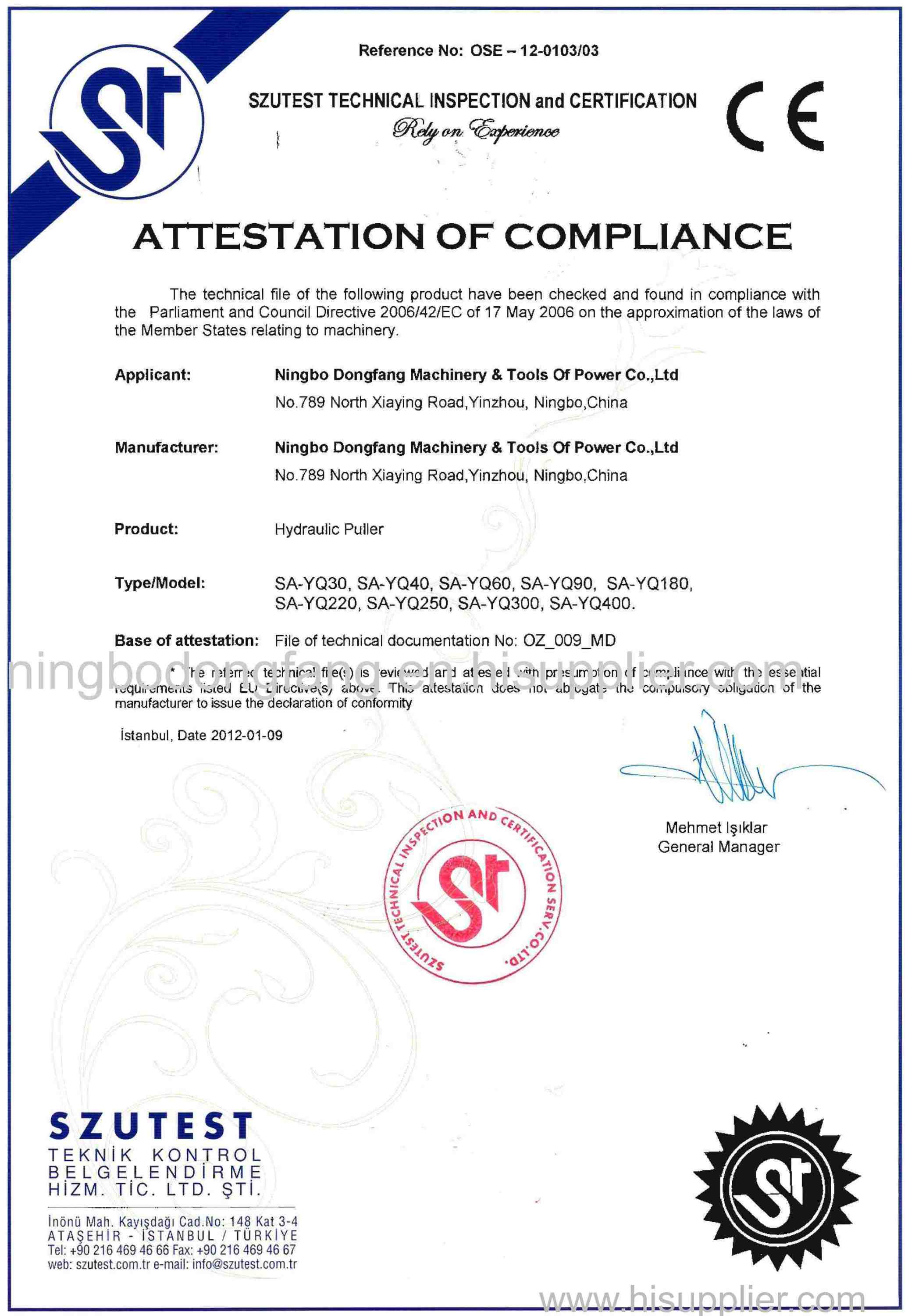 CE certificate of Hydraulic Puller
