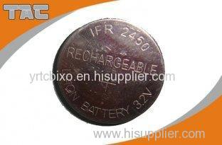 Rechargeable Lithium Coin Cell Battery LFR2450 80mAh 3.2V