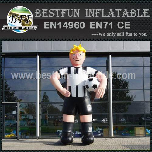 Inflatable cartoon soccer player characters