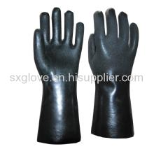 Black PVC fully coated work glove,sandy paper finish,Interlock liner,35cm