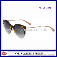 top quality handmade half rim fashion sunglasses +designer cat eye econnomic acetate sunglasses