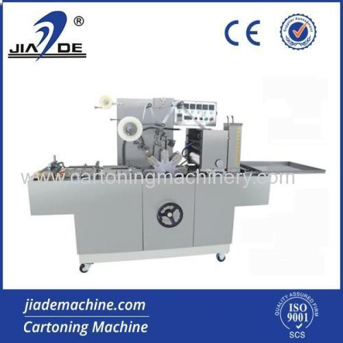Automatic cellophane overwrapping machine