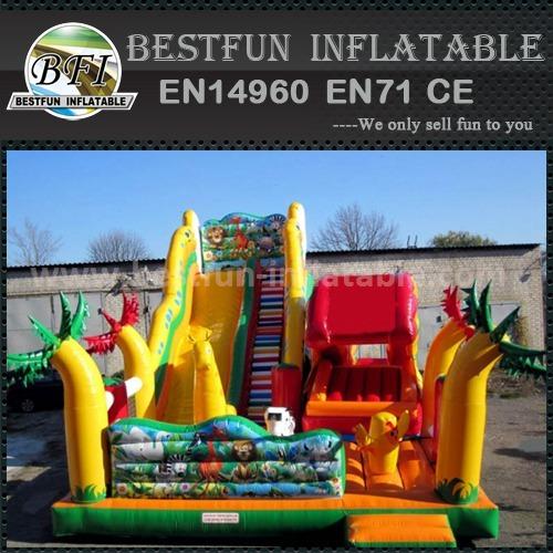 Durable inflatable moonwalk slide