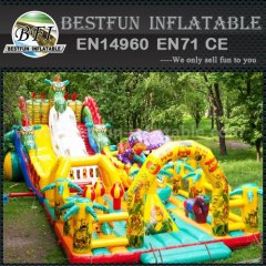 Inflatable slide with plan tree