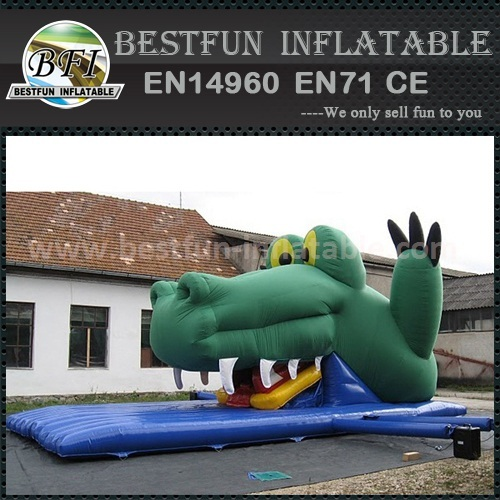 Crocodile shape inflatable dry slide