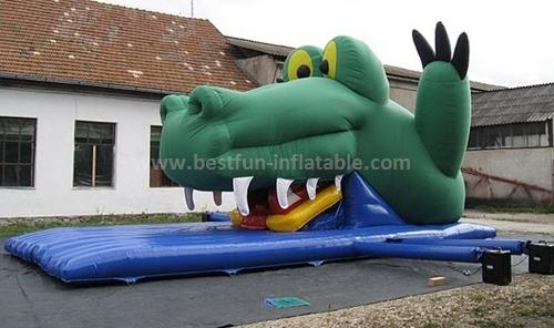 Crocodile inflatable bouncer slide