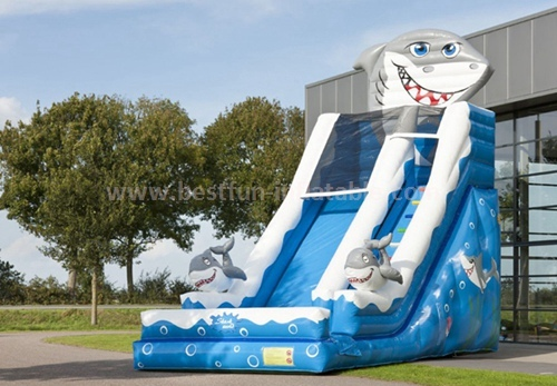 Curve wave inflatable slide