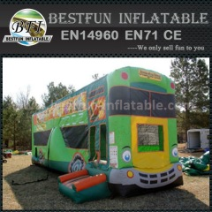 Dual lane inflatable bus slide