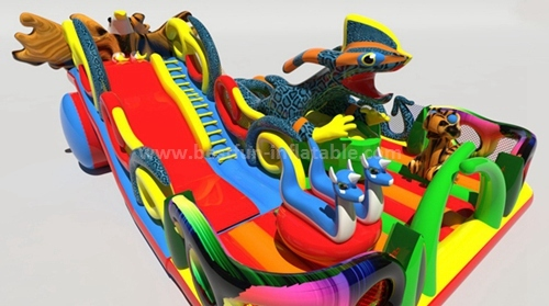 Forest jungle theme inflatable slide