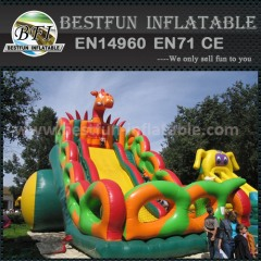 Colorful inflatable dry slide