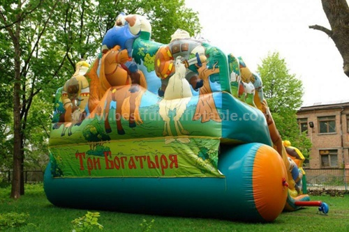 Home use inflatable bounce with slide