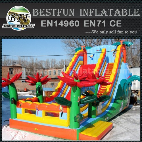 Inflatable combo bounce slides
