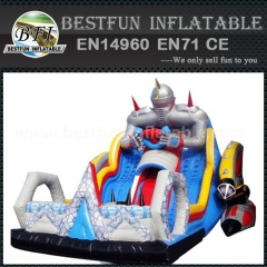 Inflatable course with slide