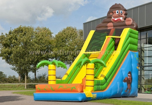 Inflatable combo slide with covering