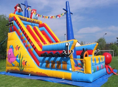 Inflatable commercial grade dry slide