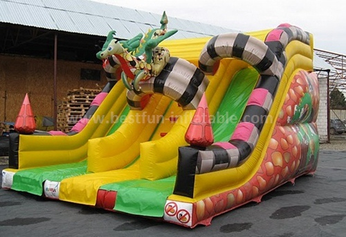 Inflatable double splash slide