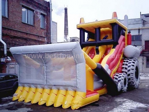 Inflatable dual lane raptor slide