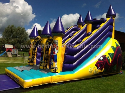 Inflatable dual lanes slide